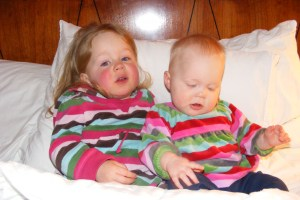 Sick wee ones, but they sure looked cute in their almost matching outfits!
